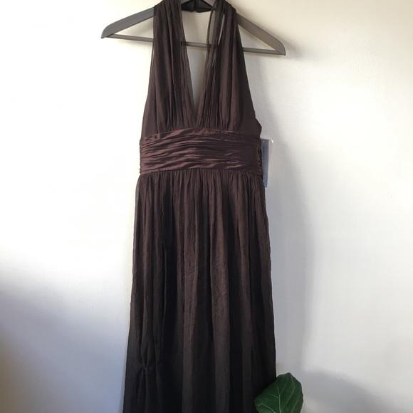 b0e968d85840 Chocolate brown halter dress